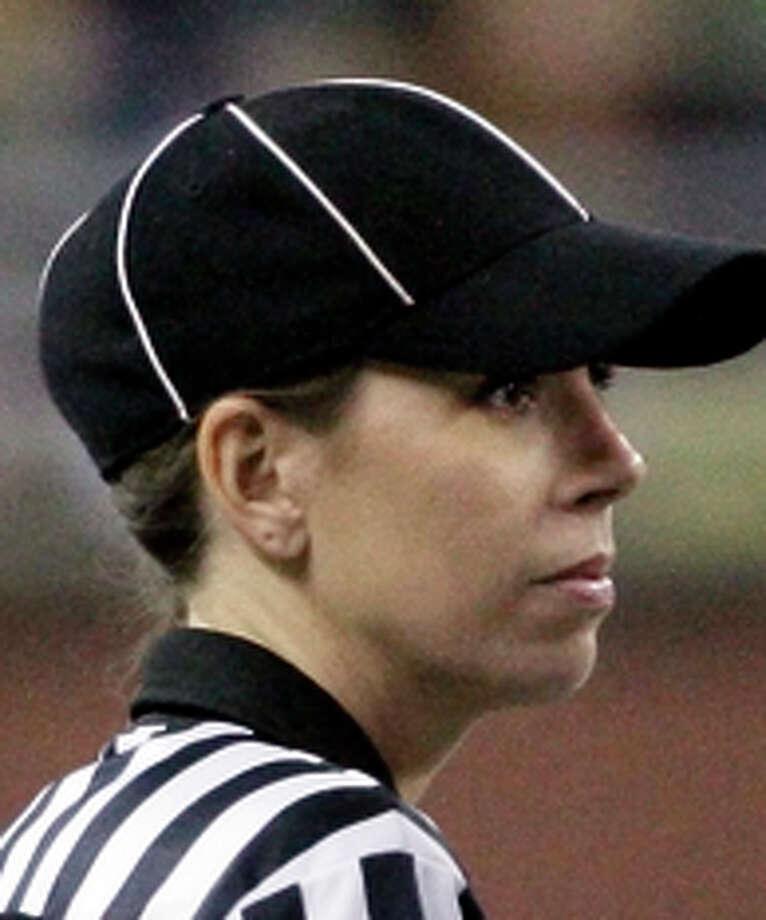 Sarah Thomas has officiated college football and preseason NFL games. Photo: Duane Burleson / AP / FR38952 AP