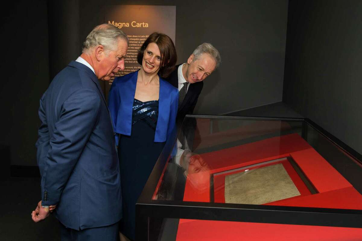 Prince of Wales is shown an original Magna Carta manuscript by Head of Medieval Manuscripts Clare Breay during a visit to open the Magna Carta: Law, Liberty, Legacy exhibition at the British Library in London in March. The document can guide Texas ethics reform.