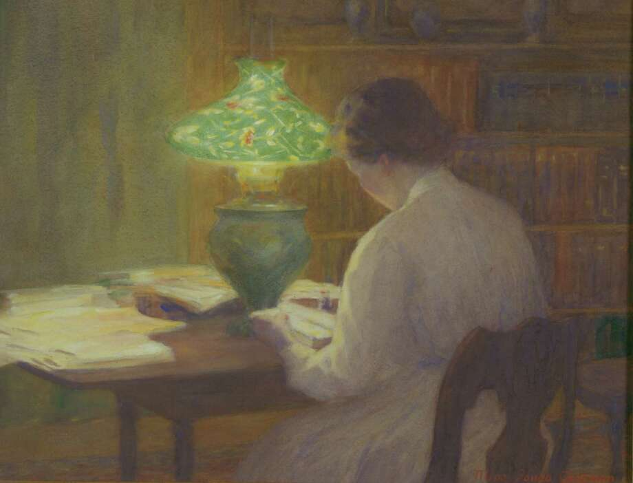 """""""The Evening Lamp,"""" watercolor on paper by Mina Fonda Ochtman. Part of the Bruce Museum Collection. Photo: Contributed Photo, Contributed Photo/The Bruce Muse / Greenwich Time Contributed"""