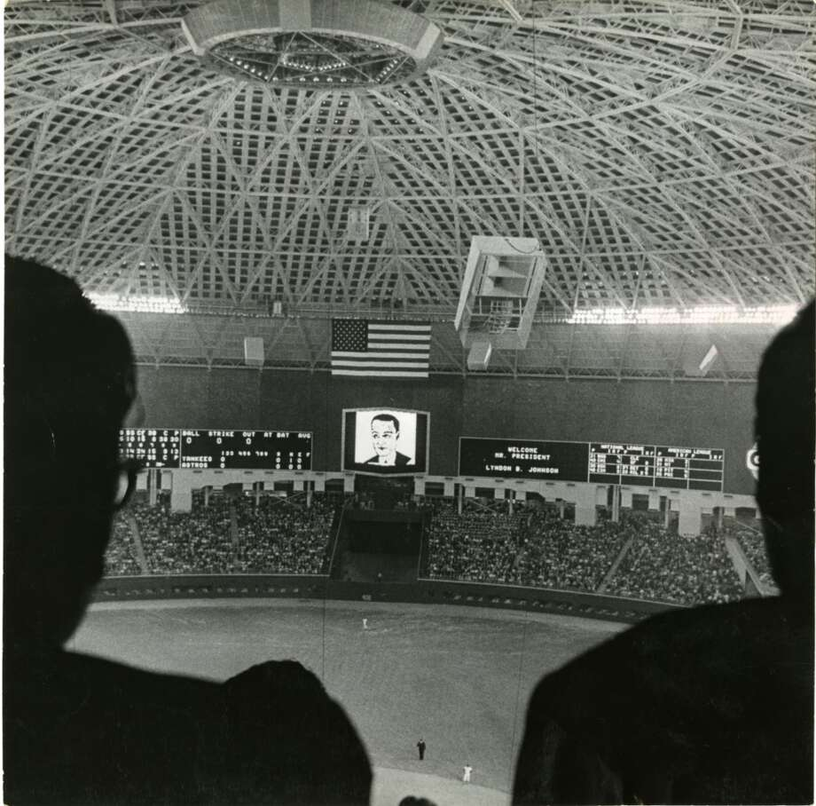 April 9, 1965: Opening Day, with President Johnson and Texas Gov. John Connally on hand for an Astros-Yankees exhibition game. Mickey Mantle launches the first Astrodome home run, but the Astros win, 2-1. Photo: Curtis McGee, Houston Chronicle