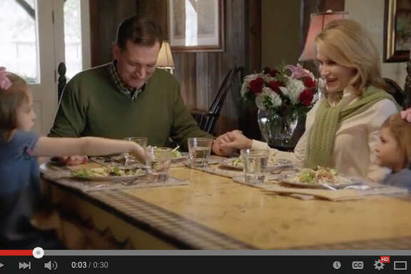 "Texas Sen. Ted Cruz's first television campaign ad includes an image of his family saying grace at the dinner table. It also tells the story of Christ's ""transforma-tive"" power to return his father to the  family."