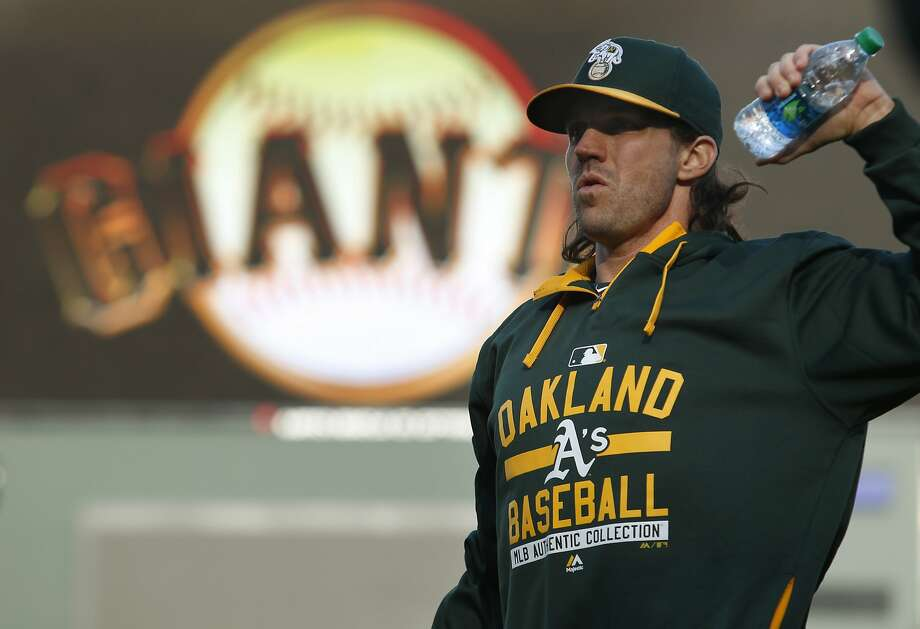 Oakland Athletics pitcher Barry Zito warms up before his baseball game against the San Francisco Giants on Friday, April 3, 2015 in San Francisco, Calif. Photo: Beck Diefenbach, Special To The Chronicle