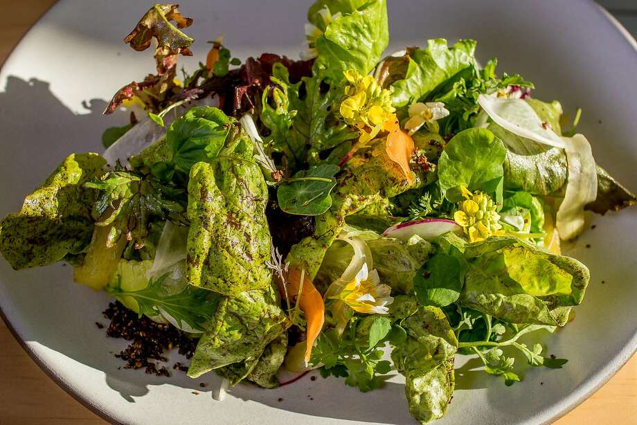 Baby lettuces with herbed avocado and quince crumble at Al's Place. Photo: John Storey, Special To The Chronicle