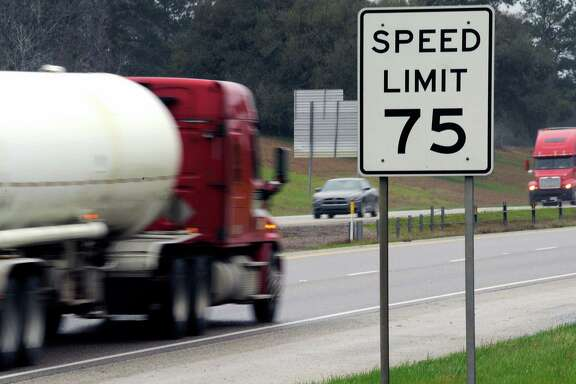 Trucks speed along I-45 near Huntsville. Many tractor-trailers on the nation's roads are driven faster than the 75 mph their tires are designed to handle, a practice that has been linked to wrecks and blowouts.