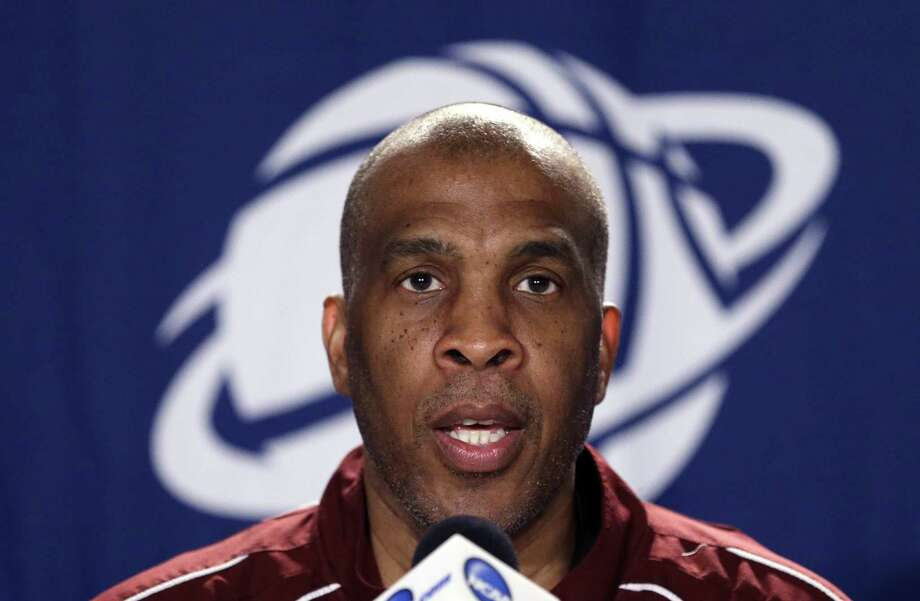 Texas Southern coach Mike Davis speaks at a news coference before practice at the NCAA college basketball tournament in Portland, Ore., Wednesday, March 18, 2015.  Texas Southern plays Arizona in the second round on Thursday. (AP Photo/Don Ryan) Photo: Don Ryan, STF / AP