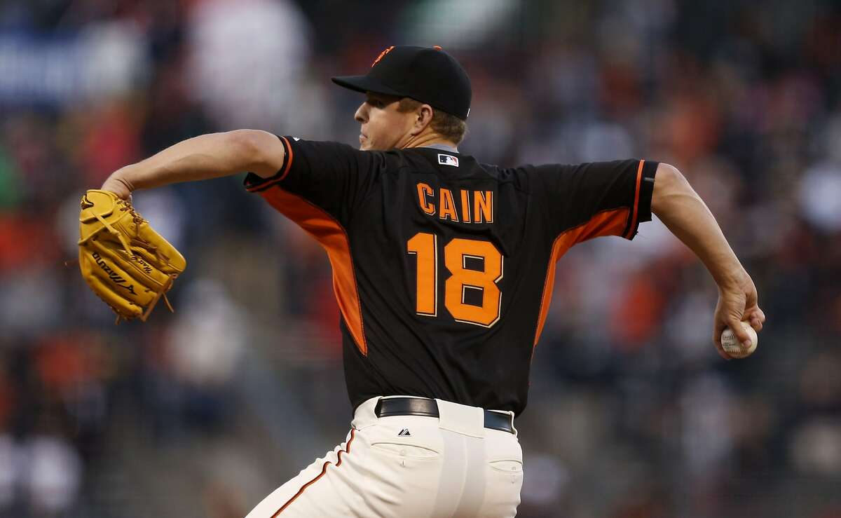 San Francisco Giants pitcher Matt Cain winds up during the first inning of the baseball game against the Oakland Athletics on Friday, April 3, 2015 in San Francisco, Calif.