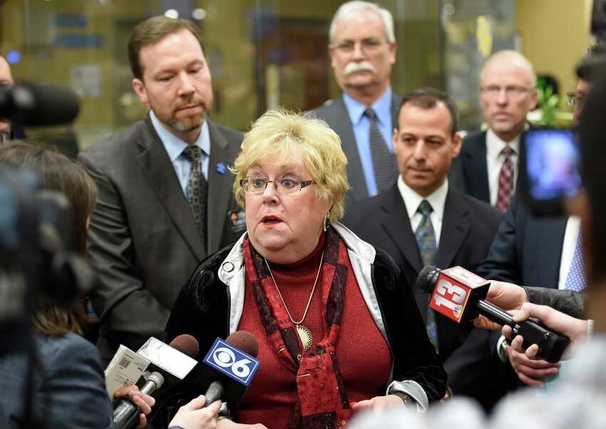 Albany County Legislator Mary Lou Connolly joined Executive Dan McCoy in announcing legislation banning the display of tobacco products in Pharmacies at a press conference April 3, 2015 at ShopRite in Slingerlands, N.Y. (Skip Dickstein/Times Union)