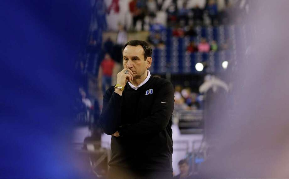 Duke head coach Mike Krzyzewski watches a drill during a practice session for the NCAA Final Four tournament college basketball semifinal game Friday, April 3, 2015, in Indianapolis. Duke plays Michigan State on Saturday. (AP Photo/David J. Phillip) Photo: David J. Phillip, STF / AP