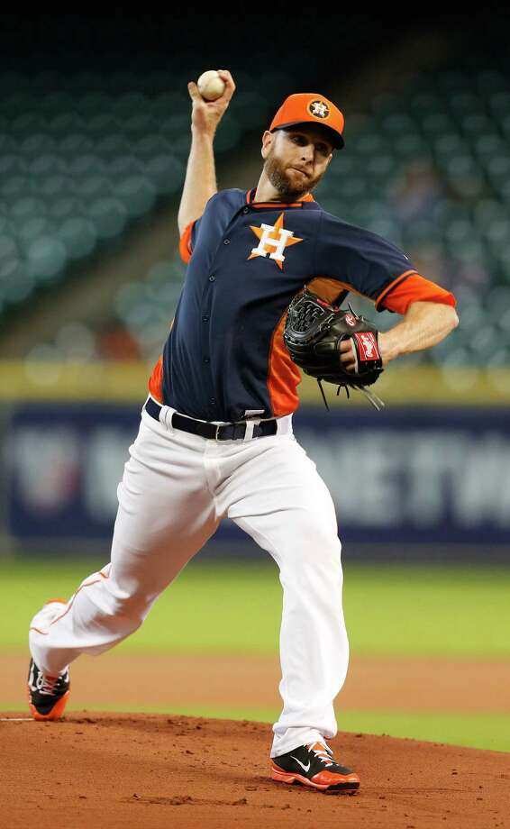 Scott Feldman saves his best for last, allowing two runs in six innings at Minute Maid Park on Friday. Photo: Karen Warren, Staff / © 2015 Houston Chronicle