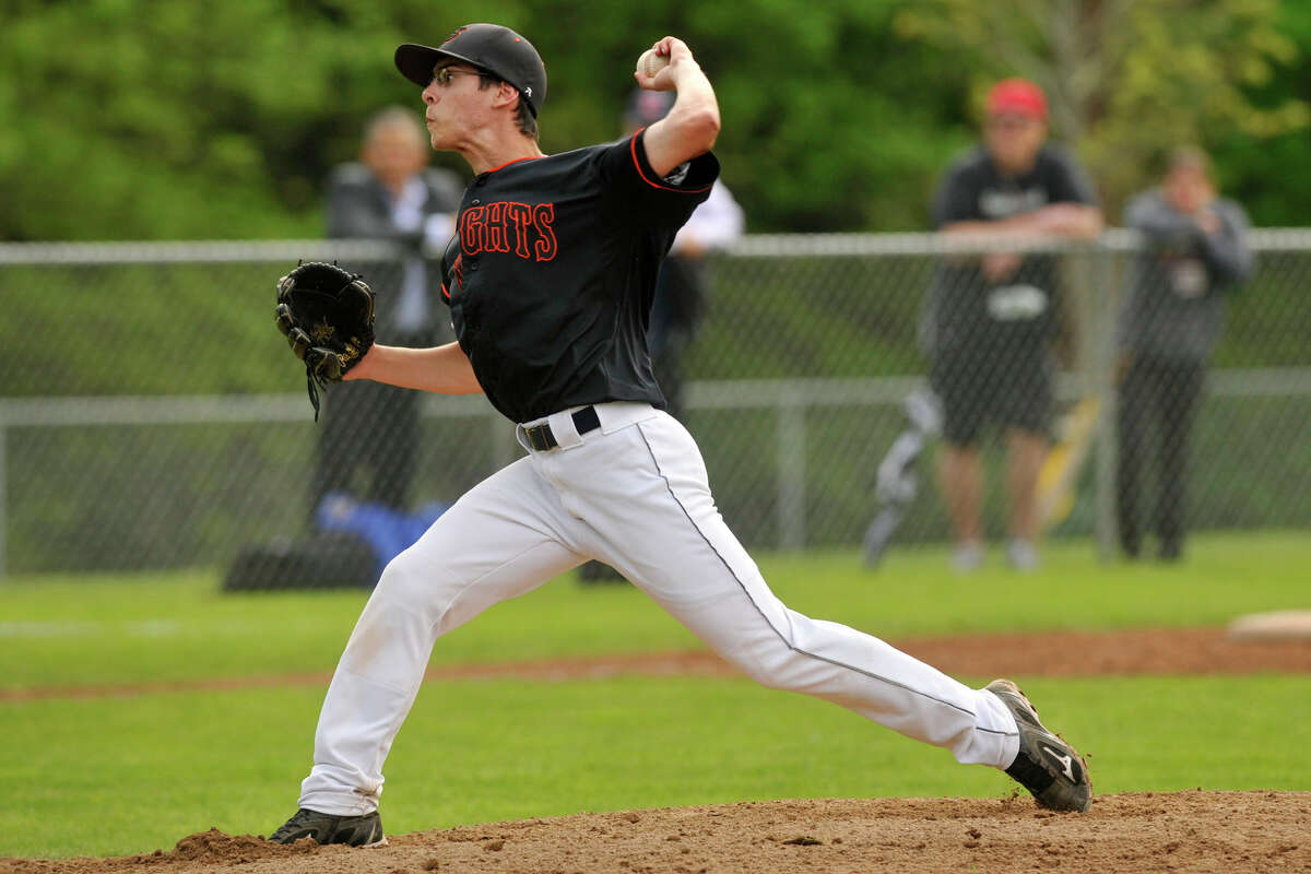 Shawn Urbano was the starting pitcher for Stamford during the Black Knights' baseball game against Greenwich at Greenwich High School in Greenwich, Conn., on Thursday, May 15, 2014. Greenwich won, 8-4.