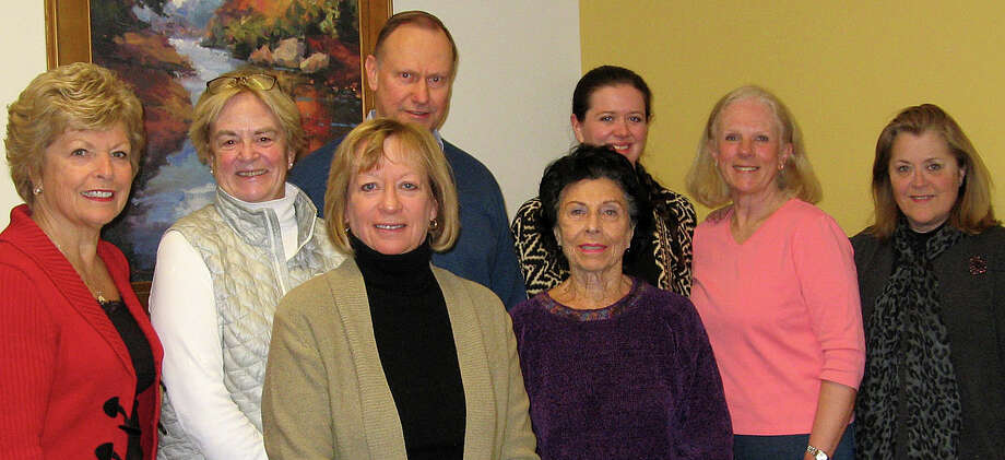 Members of Visiting Nurse & Hospice of Fairfield Countyís Benefit Committee planning the Boathouse Bash to raise funds for the non-profit agencyís patients in need include, from left: Carol Boehly, Judy Higby,  Kathy Leeds, Ken Edgar, Molly Russo, Aislinn Gavin, Janet Lebovitz and Helen Rendell-Baker of Wilton. Missing are Carol Bauer, Ellen Lewis, Donna Conway, Sharon Bradley, Carlyn Tiefenthaler, Alex Eising and Alice Mulligan. Photo: Contributed Photo / Westport News
