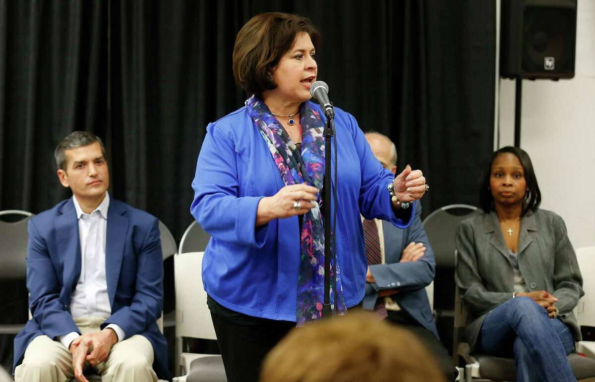 Former state Sen. Leticia Van de Putte, shown here at a forum hosted by the North East Bexar County Democrats, is the Editorial Board's recommended choice for mayor.