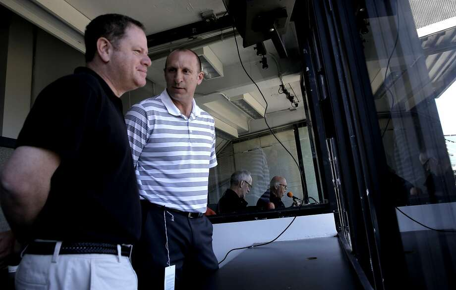 Minor league baseball announcers Doug Greenwald, (left) and Johnny Doskow up in the press box before the start of the game  at O.co Coliseum  in Oakland, Calif., as seen on Sat.. April 4, 2015. Photo: Michael Macor, The Chronicle