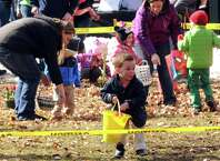 Jack O'Keefe, 3, of Saratoga Springs scramble for eggs during an Easter egg hunt as part of the EGGStravaganza at High Rock Park on Saturday April 4, 2015 in Saratoga Springs, N.Y. (Michael P. Farrell/Times Union)