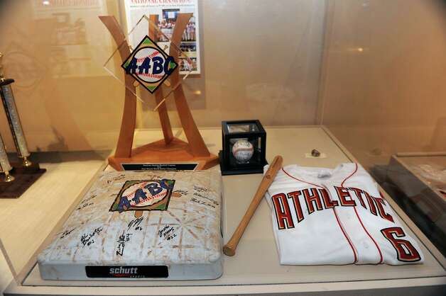 Baseball memorabilia from the Albany Twighlight League is on display at The Albany Institute of History & Art on Wednesday, Feb. 4, 2015 in Albany, N.Y. The newest exhibition at the museum, Triple Play: Baseball at the Albany Institute, is set to open February 7. (Lori Van Buren / Times Union) Photo: Lori Van Buren / 00030458A