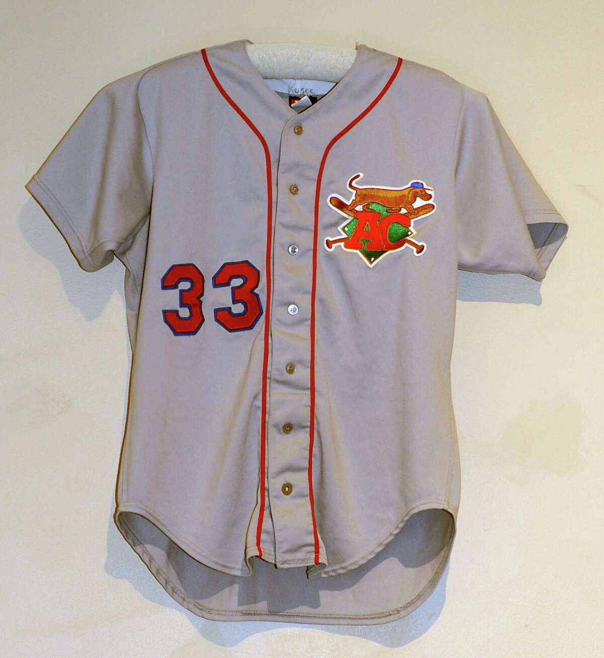 A baseball jersey from the Albany Colonie Diamond Dogs is on display at The Albany Institute of History & Art on Wednesday, Feb. 4, 2015 in Albany, N.Y. The newest exhibition at the museum, Triple Play: Baseball at the Albany Institute, is set to open February 7. (Lori Van Buren / Times Union)