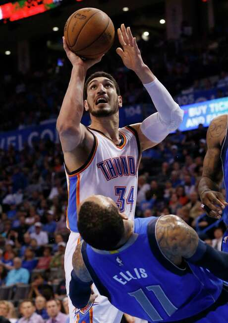 With Kevin Durant out for the season, Enes Kanter (34) has provided the Thunder with a lift since he was traded to Oklahoma City, averaging 18.3 points and 11.3 rebounds since arriving Feb. 19. Photo: Sue Ogrocki, STF / AP