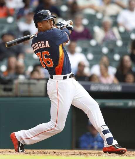 Houston Astros Carlos Correa Bats During The Sixth Inning