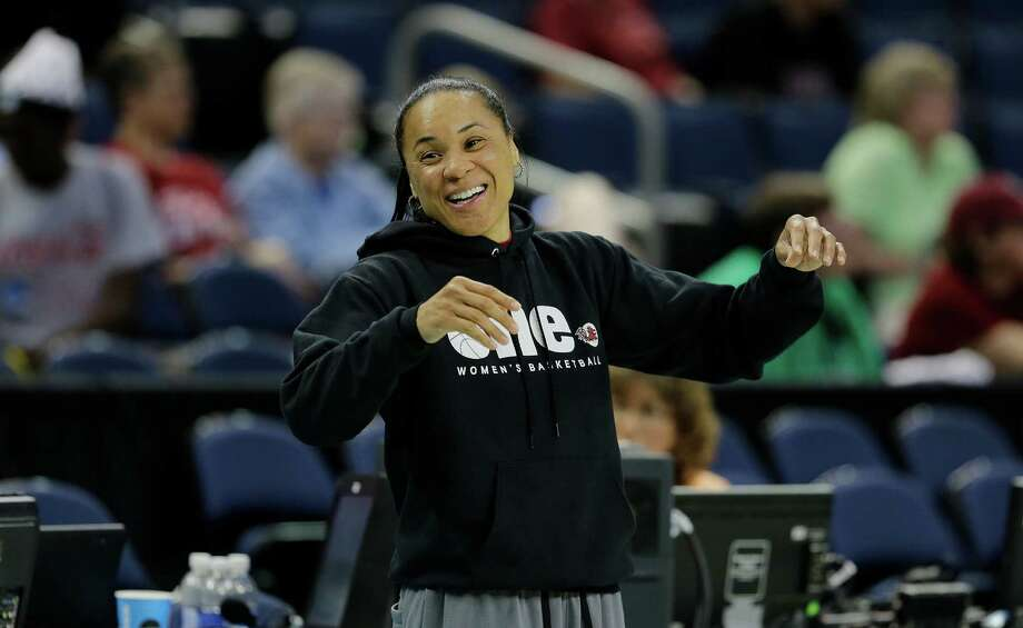 South Carolina head coach Dawn Staley watches during a practice session for the NCAA Final Four tournament women's college basketball semifinal game, Saturday, April 4, 2015, in Tampa, Fla. South Carolina plays Notre Dame Saturday in a semifinal game. (AP Photo/Chris O'Meara) Photo: Chris O'Meara, STF / AP