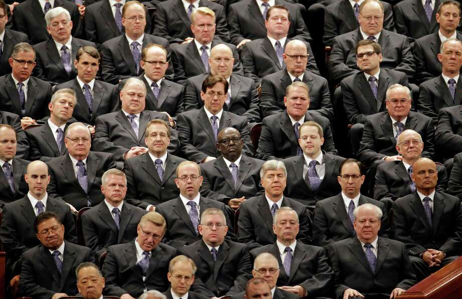 Members of the the Mormon Tabernacle Choir look on during the opening session of the Mormon church conference in Salt Lake City. Photo: Rick Bowmer / Associated Press / AP