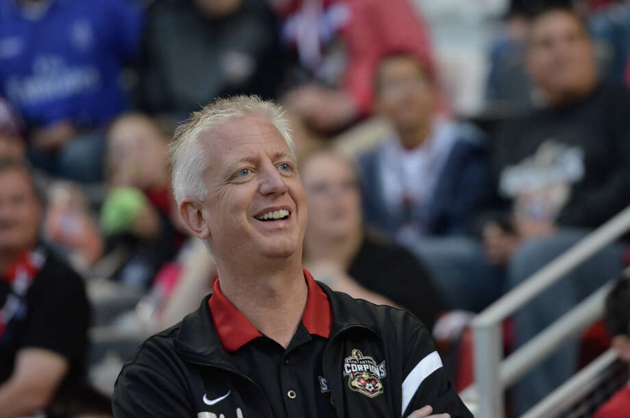 San Antonio Scorpions owner Gordon Hartman smiles as the team's championship banner is raised prior to Saturday's season opening match versus Tampa Bay. Photo: Robin Jerstad, Freelance / San Antonio Express-News