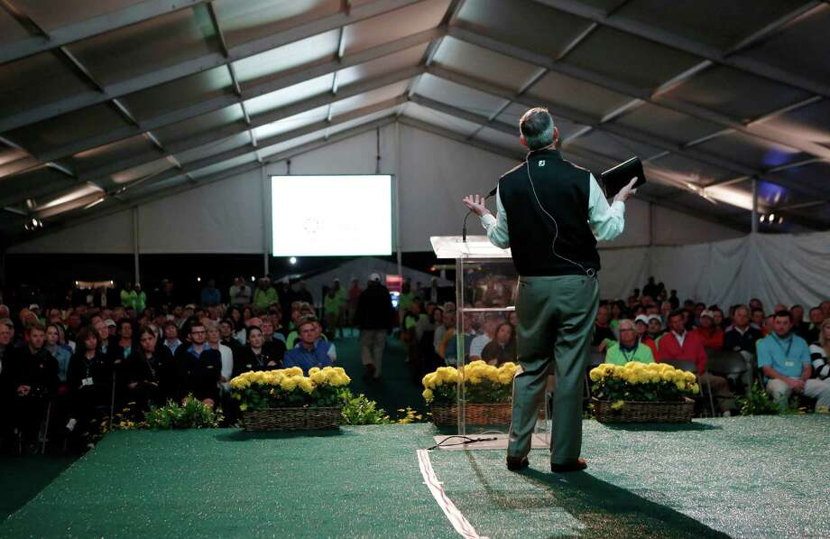 Rev. Trey Little talks about the scripture during Sunrise Service at the Golf Club of Houston Sunday, April 5, 2015, in Houston. Photo: Jon Shapley, Houston Chronicle / © 2015 Houston Chronicle