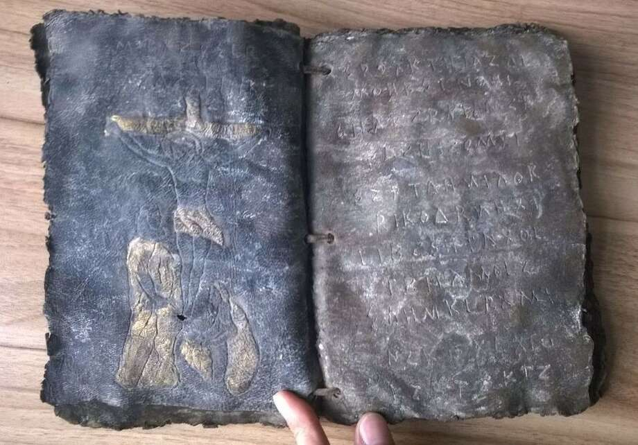 A Bible written on deerskin and thought to be thousands of years old is seen after it has emerged in Bandirma, in the province of Balikesir, Turkey on April 3, 2015. Photo: Anadolu Agency, Getty Images / 2015 Anadolu Agency