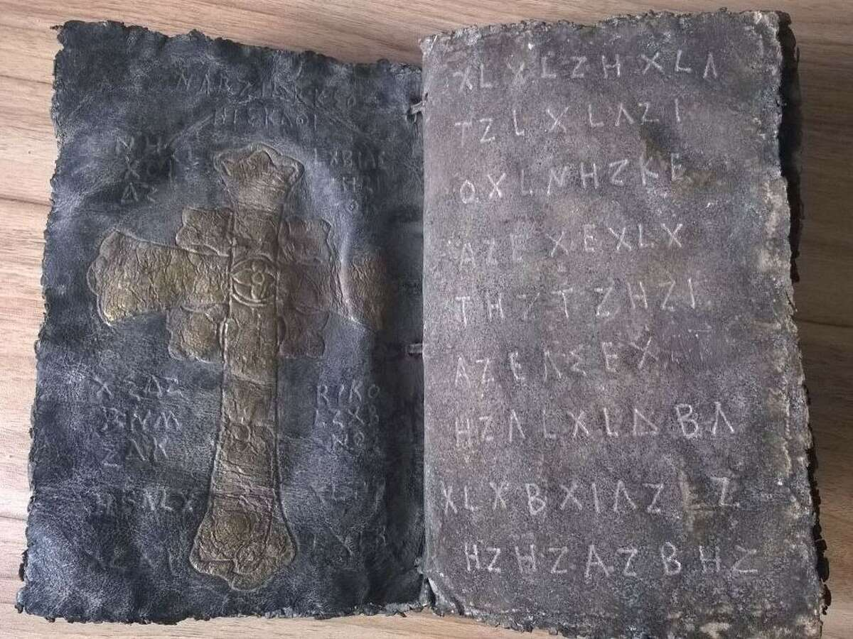 A Bible written on deerskin and thought to be thousands of years old is seen after it has emerged in Bandirma, in the province of Balikesir, Turkey on April 3, 2015.