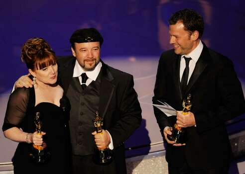 """HOLLYWOOD - MARCH 07:  (L-R) Makeup artists Mindy Hall, Barney Burman and Joel Harlow accept the Best Makeup award for """"Star Trek"""" onstage during the 82nd Annual Academy Awards held at Kodak Theatre on March 7, 2010 in Hollywood, California.  (Photo by Kevin Winter/Getty Images) *** Local Caption *** Mindy Hall;Barney Burman;Joel Harlow Photo: Kevin Winter, Getty Images / 2010 Getty Images"""