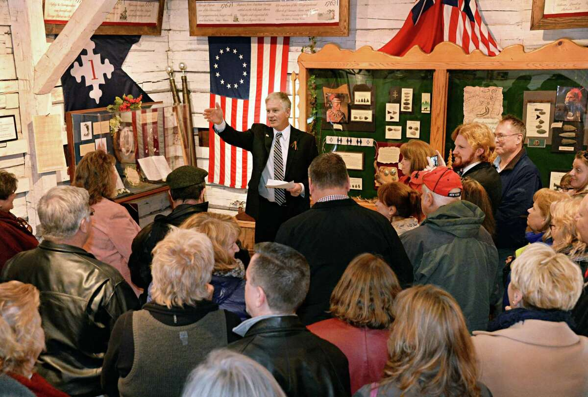 Stillwater village mayor elect Rick Nelson speaks to supporters during an oath of office ceremony inside a replica 18C blockhouse at Stillwater Blockhouse Park Saturday April 4, 2015 in Stillwater, NY. (John Carl D'Annibale / Times Union)