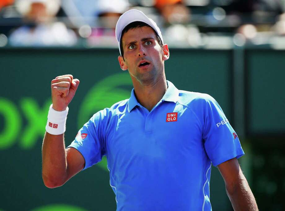 KEY BISCAYNE, FL - APRIL 05:  Novak Djokovic of Serbia celebrates a point against  Andy Murray of Great Britain  during the Men's final match on day 14 of the Miami Open at Crandon Park Tennis Center on April 5, 2015 in Key Biscayne, Florida.  (Photo by Al Bello/Getty Images) ORG XMIT: 544181887 Photo: Al Bello / 2015 Getty Images