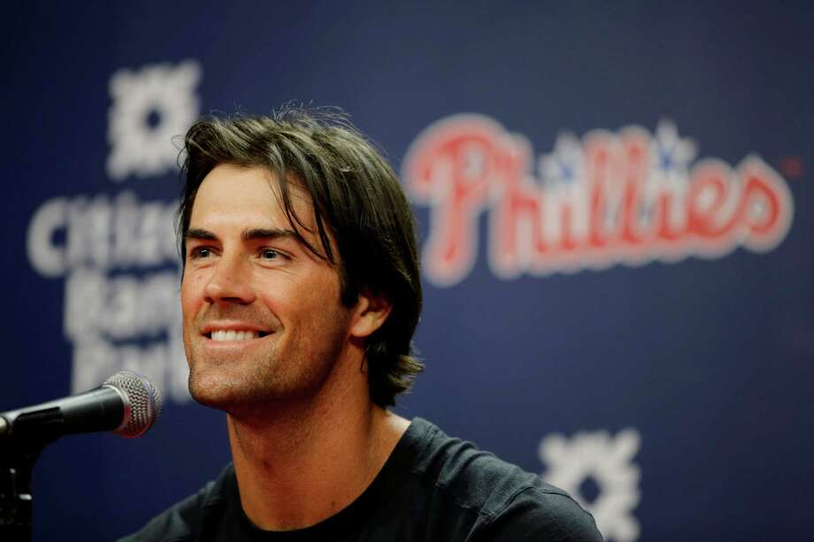 Philadelphia Phillies pitcher Cole Hamels smiles as he speaks to the media during a news conference before an exhibition baseball game against the Pittsburgh Pirates, Friday, April 3, 2015, in Philadelphia. (AP Photo/Matt Slocum) ORG XMIT: PXS103 Photo: Matt Slocum / AP