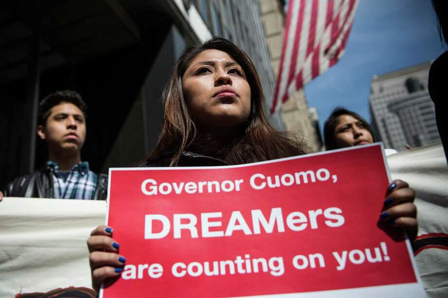 NEW YORK, NY - MARCH 25:  Immigration activists participate in a protest announcing their intent to go on a hunger strike on March 25, 2015 in New York City. Approximately 50 people who would be effected by the proposed DREAM Act have pledged to participate in the hunger strike until the DREAM Act is included in the New York State budget, which is expected to be completed by Friday of this week.  (Photo by Andrew Burton/Getty Images) ORG XMIT: 544858993 Photo: Andrew Burton / 2015 Getty Images