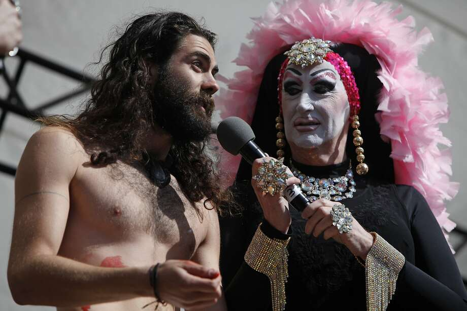 ACTUAL Jesus, a contestant in the Hunky Jesus competition, explains to the crowd his opinion of Jesus during 36th annual Sisters Easter in the Park and Hunky Jesus competition hosted by the Sisters of Perpetual Indulgence in Golden Gate Park's Hellman's Hollow in San Francisco, Calif. Sunday, April 5, 2015. Photo: Jessica Christian, The Chronicle
