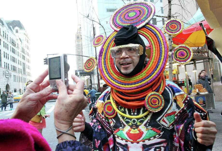Davey Mitchell poses for photographs as he takes part in the Easter Parade along New York's Fifth Avenue on Sunday, April 5, 2015. (AP Photo/Tina Fineberg) ORG XMIT: NYTF108 Photo: Tina Fineberg / FR73987 AP