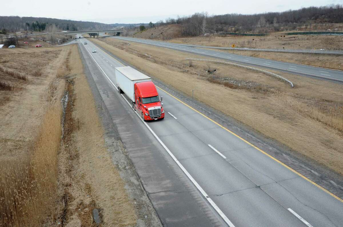 A construction project to pave this stretch of I-88 eastbound from just beyond the toll booths in Schenectady County out to the Schoharie County line will be done this summer Friday, April 3, 2015 in Duanesburg, N.Y. (Lori Van Buren / Times Union)