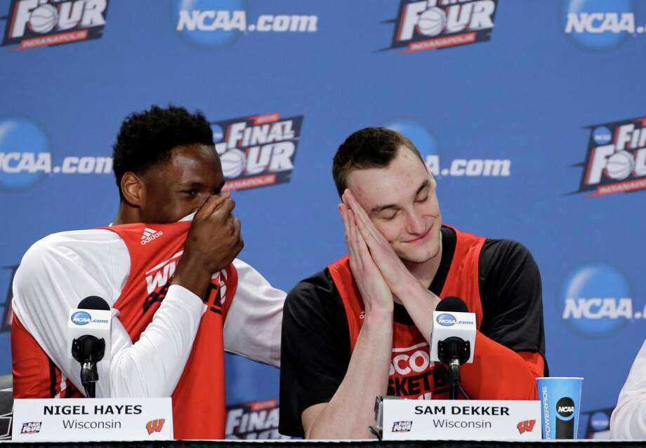 National championship jitters? Don't count on them affecting Wisconsin if Sunday's behavior by Nigel Hayes, left, and Sam Dekker is any indication. Photo: David J. Phillip, STF / AP