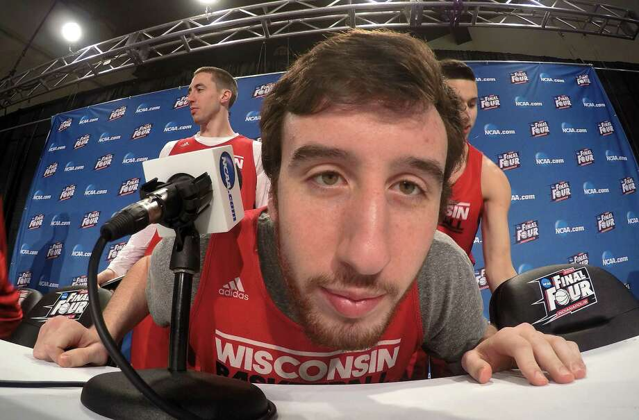 Wisconsin's Frank Kaminsky looks at a camera during the first half of the NCAA Final Four college basketball tournament championship game Sunday, April 5, 2015, in Indianapolis. (AP Photo/Tim Donnelly)  ORG XMIT: FF130 Photo: Tim Donnelly / AP