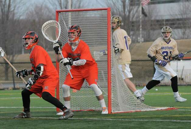 Bethlehem senior goalie Dan Comber, center, during their high school lacrosse game against CBA  at the Christian Plumeri Sports Complex on Tuesday March 31, 2015 in Albany, N.Y. (Michael P. Farrell/Times Union) Photo: Michael P. Farrell / 00031221A