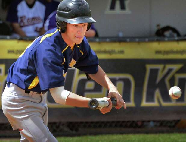 Averill Park's #19 John Finelli tries a bunt during their Class A semifinal game against Amsterdam High Saturday May 24, 2014, in Albany, NY.  (John Carl D'Annibale / Times Union) Photo: John Carl D'Annibale / 00027017A