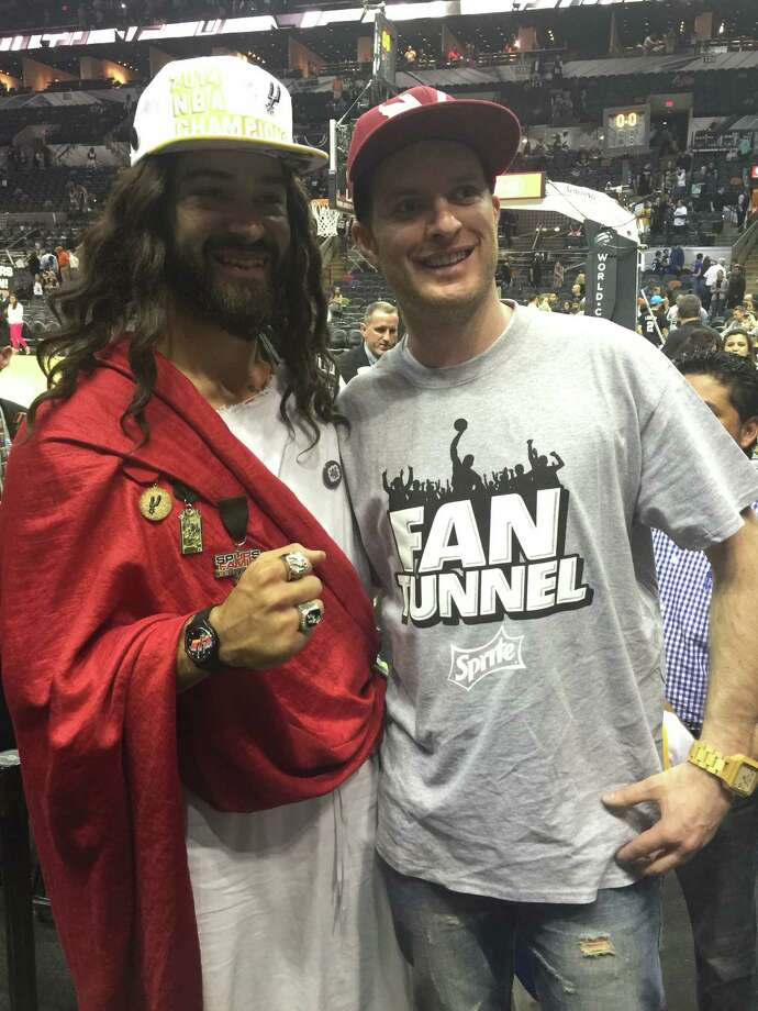 Spurs Jesus made an appearance at Sunday night's game against Golden State. Photo: Spurs Jesus