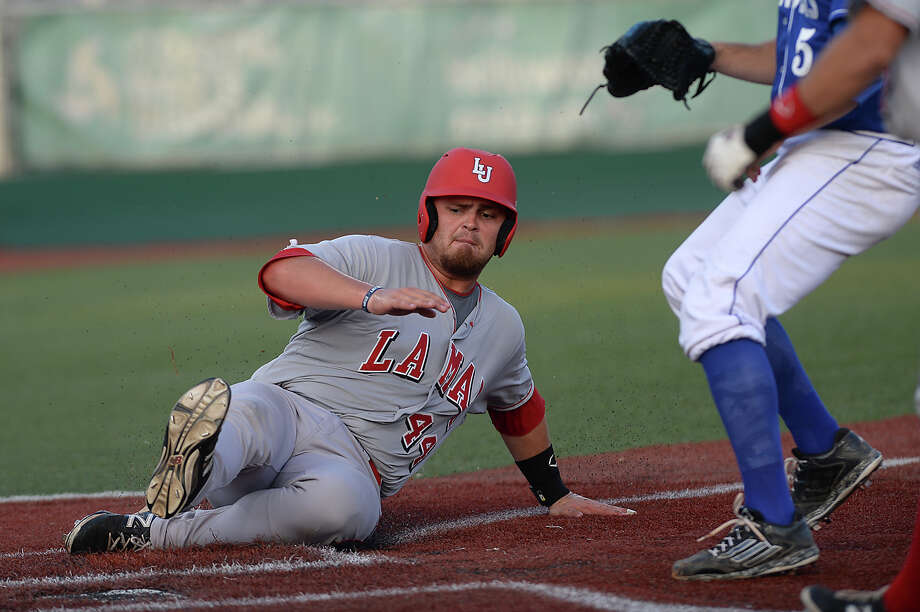 Lamar's Kyle Markum slides safely into home plate ahead of the throw as they face Texas A&M - Corpus Christi at home Friday. Photo taken Friday, April 3, 2015 Kim Brent/The Enterprise Photo: Kim Brent / Beaumont Enterprise