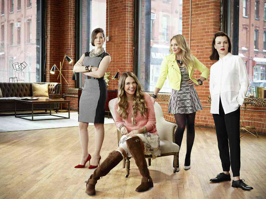 "The new TV Land series from ""Sex and the City"" creator Darren Star features Broadway star Sutton Foster(second from left) as a 40-year-old woman who pretends to be 26 to get a publishing job. Foster's co-stars (from left) are Miriam Shor, Hilary Duff and Debi Mazar. Photo: Contributed Photo / Connecticut Post Contributed"