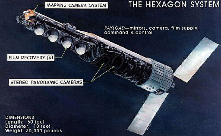 An image of the KH-9 Hexagon spy satellite released when it was declassified in 2011 after remaining top secret for 40 years. An engineer who worked on developing the Cold War satellite will speak April 11 at the Fairfield Senior Center. Photo: Contributed Photo / Fairfield Citizen