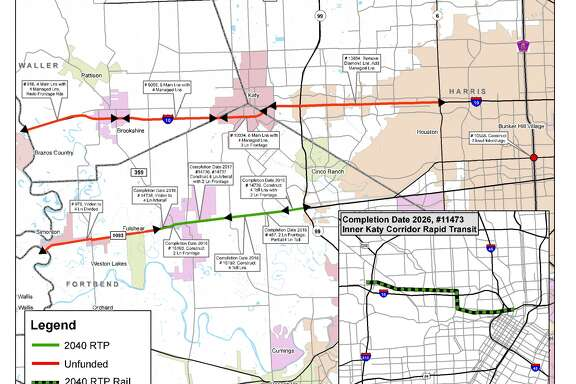 Plans for Interstate 10 west of downtown Houston include two managed lanes in each direction. (Image courtesy H-GAC)