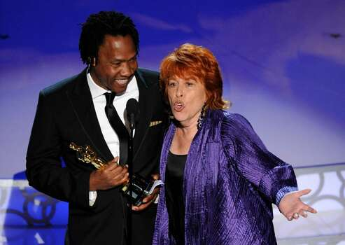 Roger Ross Williams, left,  and Elinor Burkett accept the Oscar for best documentary short subject for ?Music by Prudence? at the 82nd Academy Awards Sunday, March 7, 2010, in the Hollywood section of Los Angeles. (AP Photo/Mark J. Terrill) Photo: Mark J. Terrill, ASSOCIATED PRESS / AP2010
