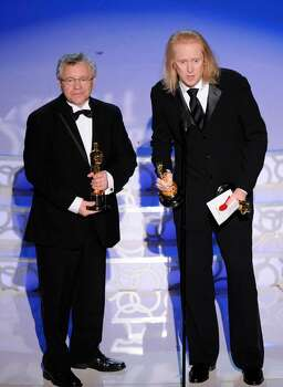 Paul N.J. Ottosson and Ray Beckett accept the Oscar for best achievement in sound mixing for ?The Hurt Locker? at the 82nd Academy Awards Sunday, March 7, 2010, in the Hollywood section of Los Angeles. (AP Photo/Mark J. Terrill) Photo: Mark J. Terrill, ASSOCIATED PRESS / AP2010