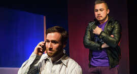 """Nick Trengrove (left) and Sal Mattos in the New Conservatory Theatre Center's """"From White Plains."""""""