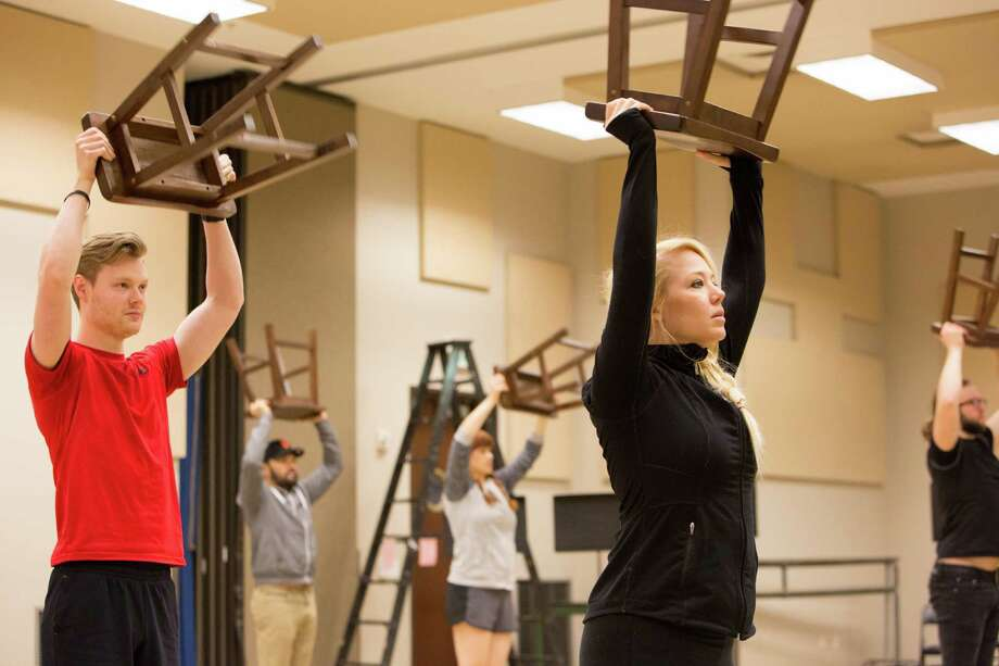 """Tyce Green, left, and Holland Vavra rehearse for TUTS' production of """"LMNOP."""" Photo: Courtesy TUTS"""