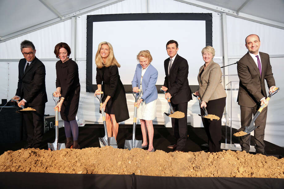 Posing with ceremonial shovels for the groundbreaking of the Menil Drawing Institute are architects Mark Lee and Sharon Johnston, from left, Menil Foundation president Janet Hobby, Menil Collection board chairman Louisa Stude Sarofim, Menil Collection director Josef Helfenstein, Mayor Annise Parker and Menil Drawing Institute chief curator David Breslin. Photo: David Brown, Principle / dabfoto creative 713-416-2633  www.dabfoto.com